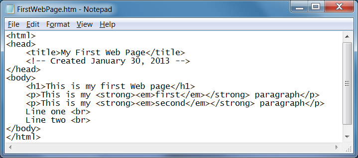 Your First Web Page