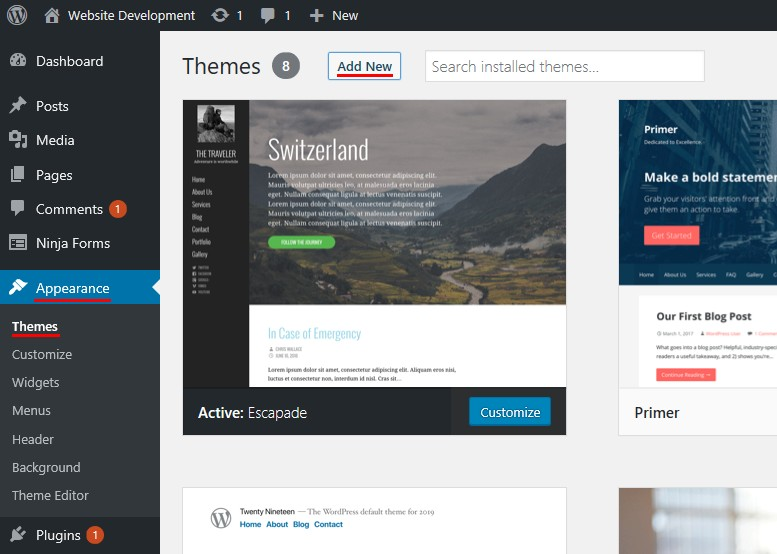 Add Themes in WordPress