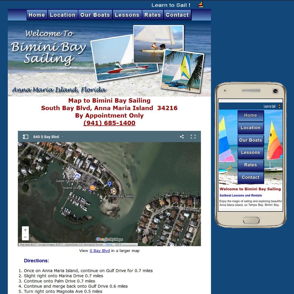 Website for BiminiBaySailing.com providing sailing lessons and rentals
