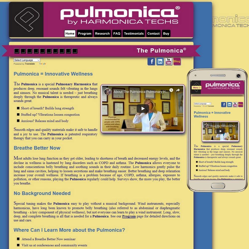 Website for Pulmonica.com - a special Pulmonary Harmonica
