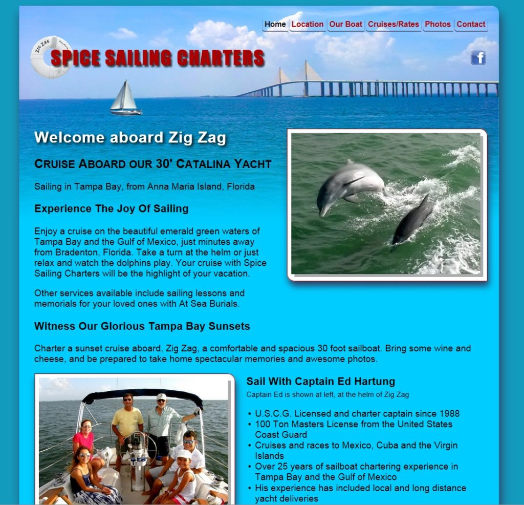 Website for Spice Sailing Charters