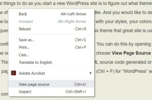 Right-click and choose View Page Source