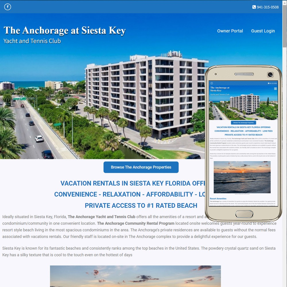 Website for The-Anchorage.com at Siesta Key
